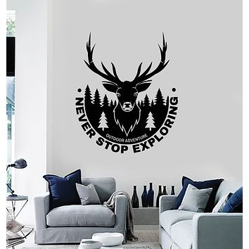 Vinyl Wall Decal Outdoor Adventure Exploring Deer Head Forest Stickers Mural (g3406)