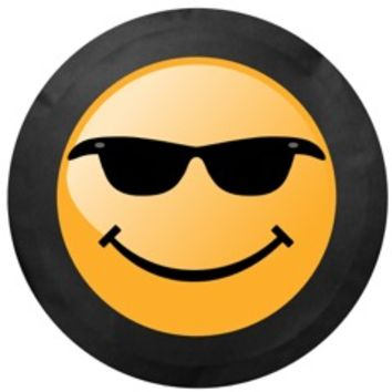 All Things Jeep - Smiley Face with Sunglasses Tire Cover in Black