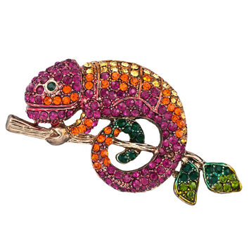Chameleon Jeweled Gold-Tone Pin
