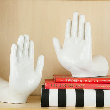 Vintage hand bookends
