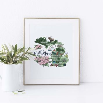 Michigan State Map Wall Art Print