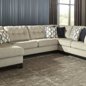Ashley Furniture 15004-67-34-16 3 pc Beckendorf chalk fabric sectional sofa with chaise and tufted backs