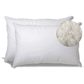 Extra Soft Down Filled Pillow for Stomach Sleepers w/ Cotton Casing 2 Pack - Made in the USA, Set of 2 Standard