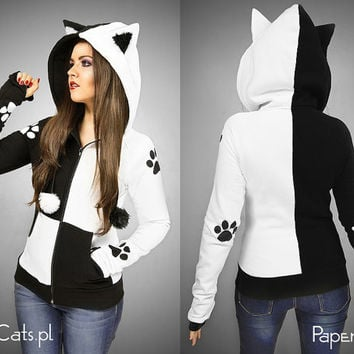 Dual white Black Cat Hoodie ears animal kitty paws