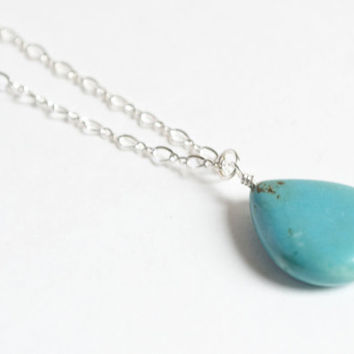 Turquoise Necklace - Stirling Silver Jewelry - Tear Drop Pendant - Drop Necklace - Blue Green - Simple Necklace - Stone Jewelry Jewelry Set
