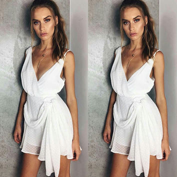 Summer Scales V-neck Split Skirt One Piece Dress [11423620175]