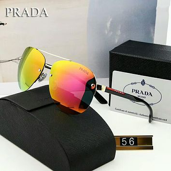 PRADA Fashion Unisex Summer Sun Shades Eyeglasses Glasses Sunglasses Golden Purple I-A-SDYJ
