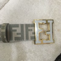 Lightly Used White Fendi Leather Belt 50/125