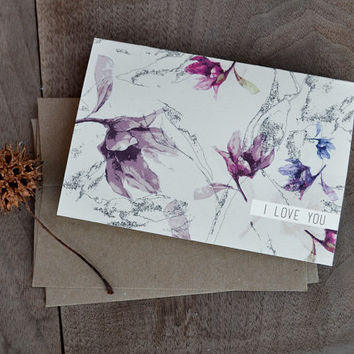 Valentines Day Card - Floral Pattern Card, Love Notes, blank note card, anniversary card, I love you card, custom greeting card
