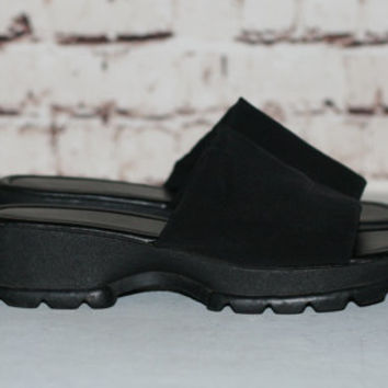 90s Chunky Slip On Sandals Black US 8 Monster Platform Heel Grunge Hipster Festival Minimalist Punk Goth Gothic Shoes Nu