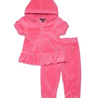 2Pc Short Sleeve Velour Tracksuit by Juicy Couture