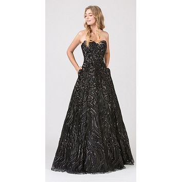 Black Strapless Sequins Prom Gown Corset Back