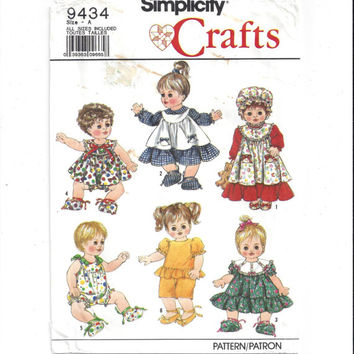 Simplicity 9434 Pattern for Doll Clothes for Small & Medium, Large Doll, From 1989, Partial UNCUT, Vintage Pattern, Home Sewing Pattern