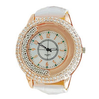 Hot Fashion Women Ladies Leather Band Shinning Rhinestones Quartz Wrist Watch = 1932445188