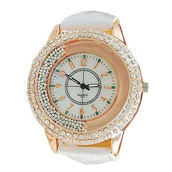 Hot Exquisite Women Ladies Leather Band Shinning Rhinestones Quartz Wrist Watch ero = 1956919108