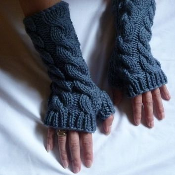 pdf knitting pattern chunky cable wristwarmers/fingerless gloves