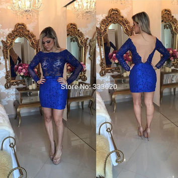 Lace Long Sleeves Royal Blue Lace Pearls Beaded Sexy Backless Short Mini Cocktail Party Dress