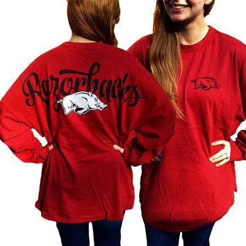 Arkansas Razorbacks Women's Logo Sweeper Long Sleeve Oversized Top Shirt
