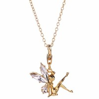 14Kt Gold Plated And Crystal Tinker Bell Charm And Necklace From Disney Couture : TruffleShuffle.com