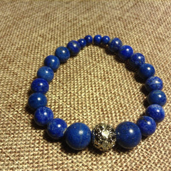 Lapis Lazuli Semi Precious Gemstone With Rhinestone Spacer Stretch Bracelet