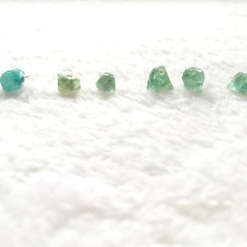 Raw Apatite Earrings, Natural Crystal Stone Studs, Blue, Green Gemstone Earrings, Rough, Nugget, Minimalist, Edgy, Surgical Steel Posts