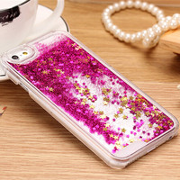 Hot ! 7 Colors Fun Glitter Star Liquid Hard Back Phone Case cover for iphone 6 6s 6Plus 6sPlus transparent clear case Cover