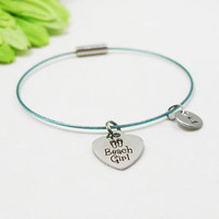 Beach Girl Bracelet - Best Friends Bangle - Initial Charm - Charm Bracelet - Initial Bracelet - Personalize Gift - Custom Bracelet