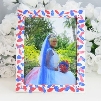 Gifts - Red White Blue Picture Frame - Hand Painted Photo Frame - Wedding Frame - 8x10 Frame - Birthday Gift - Friends Gifts - Wedding Gifts