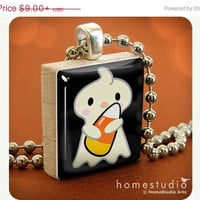 SALE PRICE - Ghostie : pendant jewelry from a Scrabble tile. Necklace Scrabble piece. Home Studio jewelry gift present.