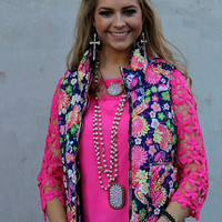 Beauty in Bloom Hot Pink and Navy Floral Puffer Vest