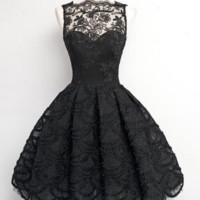 Little Black Lace Short Prom Dress, Black Lace Homecoming Dress Custom Made