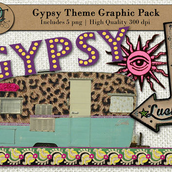 Gypsy Theme Graphic Design Pack | 5 png images with transparent background, high resolution 300 dpi, Camper, Sign, Leapord Print, Ribbon
