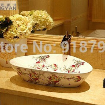 Porcelain Cloakroom Wash Basin Bathroom  triangle Vessel sink with two peaches  DH887