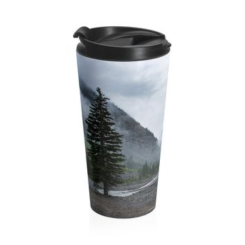 Pine Tree Foggy Mountain Valley Coffee Cup - Stainless Steel Travel Mug