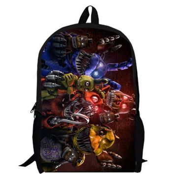 School Backpack 15inch game anime backpack double layer custom made children Freddy Chica Foxy Bonnie School bag men AT_48_3