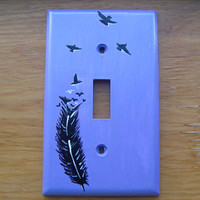 Feather turning into Birds Light Switch Cover