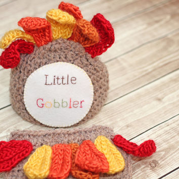 Little Gobbler Newborn Turkey hat and diaper cover set, First Thanksgiving set, 0-3 months, ready to ship