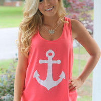 Anchors Aweigh! Tank: Coral/Mint