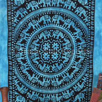 Tie Dye Elephant Tapestry Wall Hanging, Twin Size Bohemian Bedding, Boho Mandala Wall Art, Good Luck Elephant Hippie Tapestries, Dorm Decor