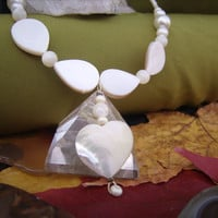 Mother of Pearl Necklace Heart Necklace Chakra Jewelry Stone Necklace