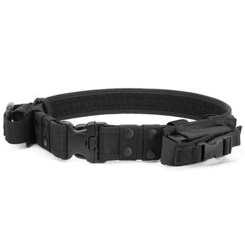 Heavy Duty Tactical Belt Adjustable Military Army Police Uniform Airsoft Utility Waist Belts with Dual Mag Pouches for Cosplay P
