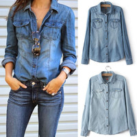Retro Hot 2015 Fashion Women Casual Blue Jean Denim Long Sleeve Shirt Tops Blouse