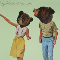 Handmade Collage, Does a Bear Smoke in the Woods, One of a Kind Paper Collage, frighten