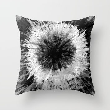 Black and White Tie Dye // Painted // Multi Media Throw Pillow by AEJ Design