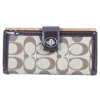 Coach Signature Parker Credit Card Skinny Turnlock Wallet 49536 Khaki Mahogany
