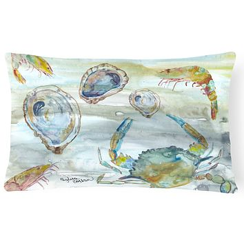 Crab, Shrimp and Oyster Watercolor Canvas Fabric Decorative Pillow SC2010PW1216