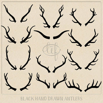 Vector Antlers ClipArt Set and Antlers Photoshop Brushes Hand Drawn for logo and other graphic design, invitation and card making