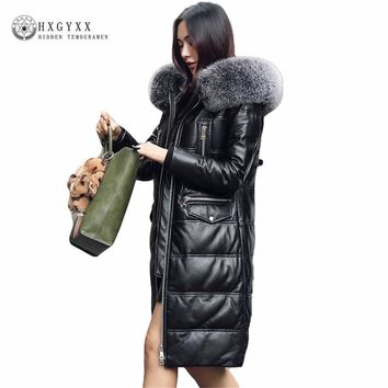 2018 Genuine Leather Jacket Women White Duck Down Parka Slim Long Real Fur Fashion Hooded Loose Sheepskin CoatsPlus Size Okb180