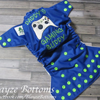 Please READ To ORDER Custom My Daddy's A Gamer / Daddy's Gaming Buddy OS Cloth Pocket Diaper and Diaper Cover Must Leave Note To Seller