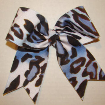 Small Blue and White Cheetah Cheer Bow